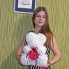 Мишка из роз 3d белый с сердцем 40 см с доставкой в Киеве