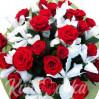 Огонь любви 2 (21 алая роза+10 белых ирисов)