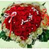 """Композиция в корзине в виде сердца из 51 розы, """"Очаровашке"""""""